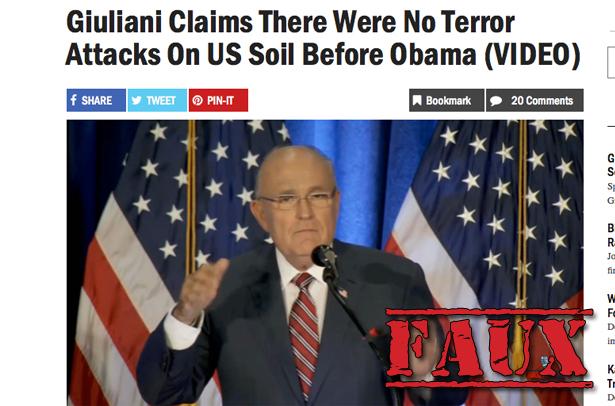 Non, Rudy Giuliani, l'attaque du 11 septembre n'a pas eu lieu sous Obama