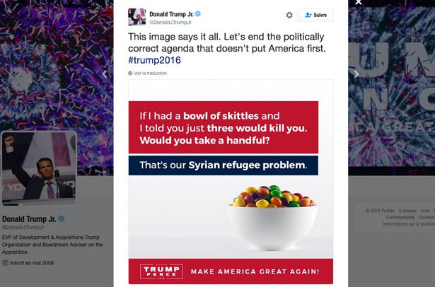 L'auteur de la photo des Skittles dans le tweet de Donald Trump Jr. était lui-même un réfugié