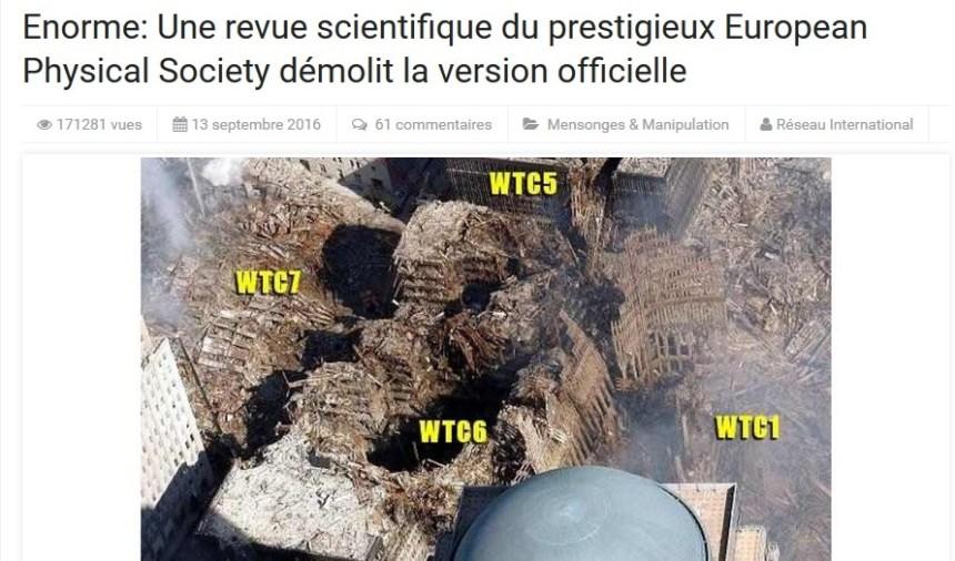 Non, une revue scientifique n'a pas affirmé que le World Trade Center a été démoli