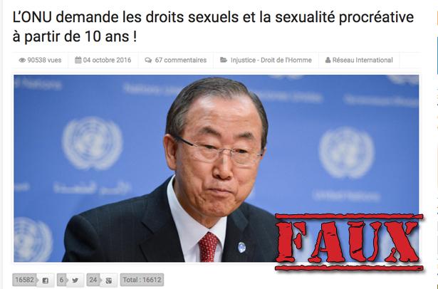 Non, l'ONU ne veut pas légaliser la pédophilie