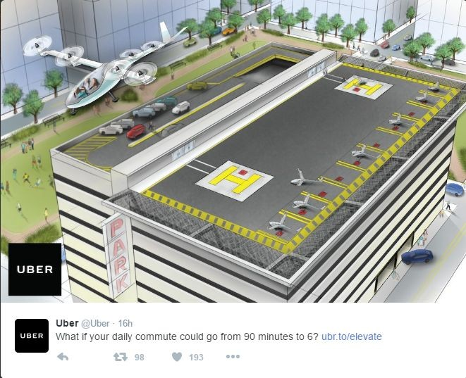 Uber rêve de voitures volantes