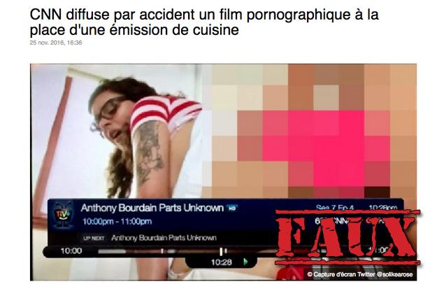 Non, CNN n'a pas diffusé par erreur un film pornographique