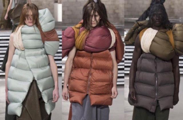 Un designer utilise des sacs de couchage pour sa nouvelle collection