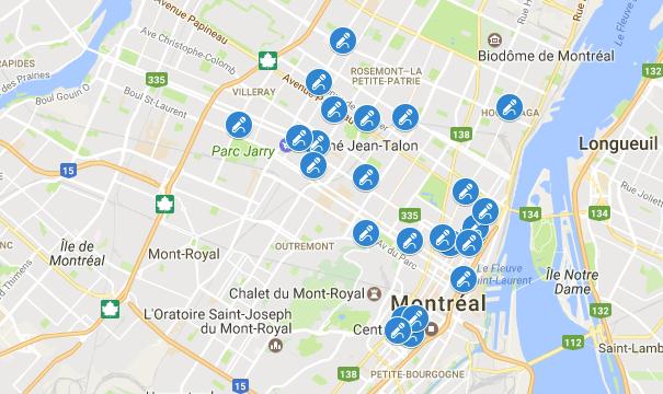 Carte: les karaokés à Montréal
