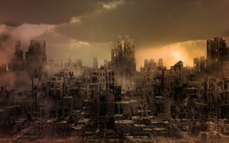 Apocalyptic scenery with destroyed city