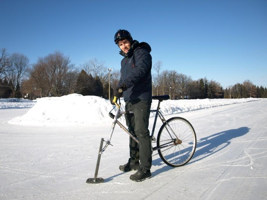 Vélo sur glace: ça roule et ça glisse
