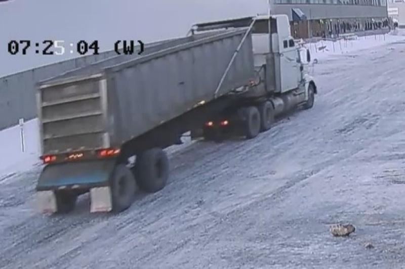 Un camion déverse des ordures dans des stationnements de commerces