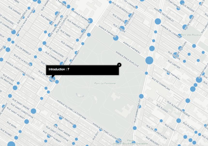 La carte des crimes à Montréal au coin de rue près