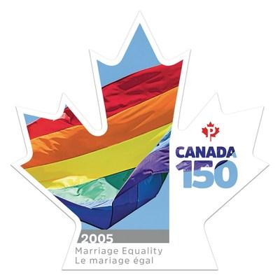 Un timbre commémorant le mariage gai au Canada