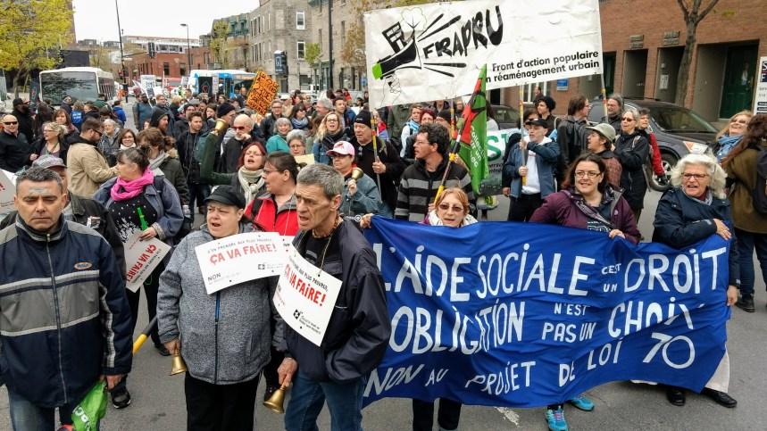 Manifestation contre la réforme de l'aide sociale