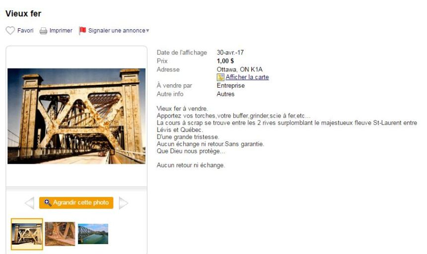 Le pont de Québec à vendre sur Kijiji