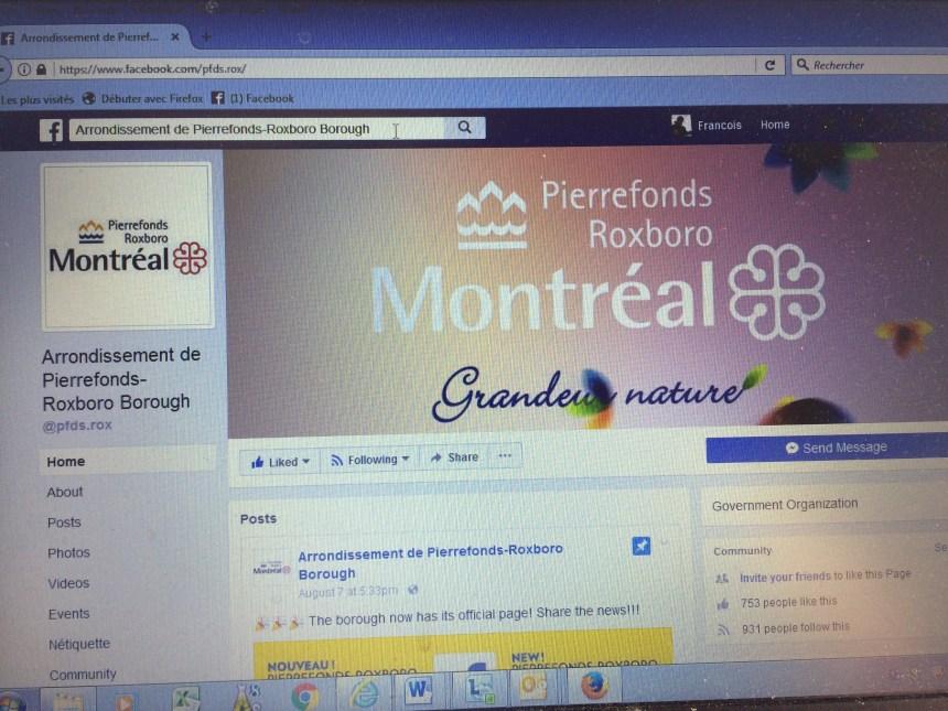 Pierrefonds-Roxboro se dote d'une page Facebook