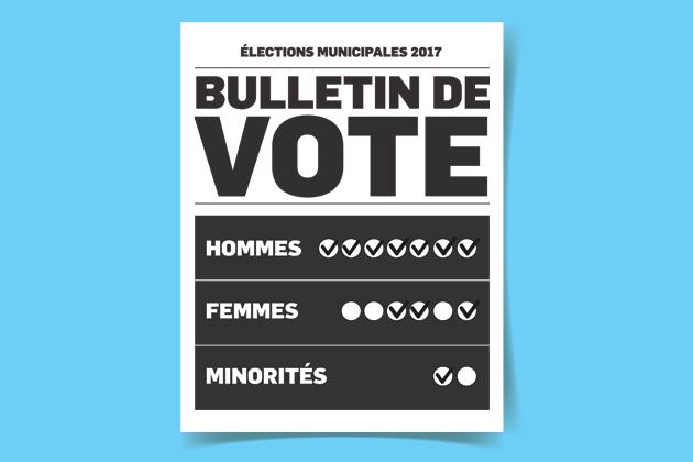 Partis municipaux: près de la parité, plus loin des minorités