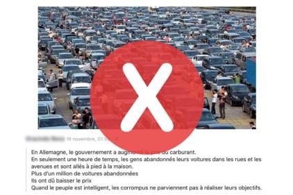 Non, ces gens n'ont pas abandonné leur voiture pour protester contre le prix de l'essence