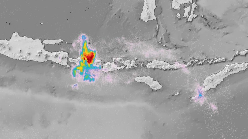 Un satellite illustre la pollution atmosphérique du volcan Agung