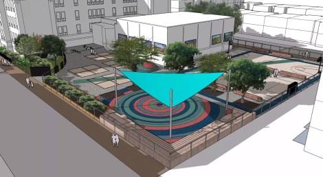 Plans prévus de la cour de l'école Saint-Jean-de-Brébeuf.