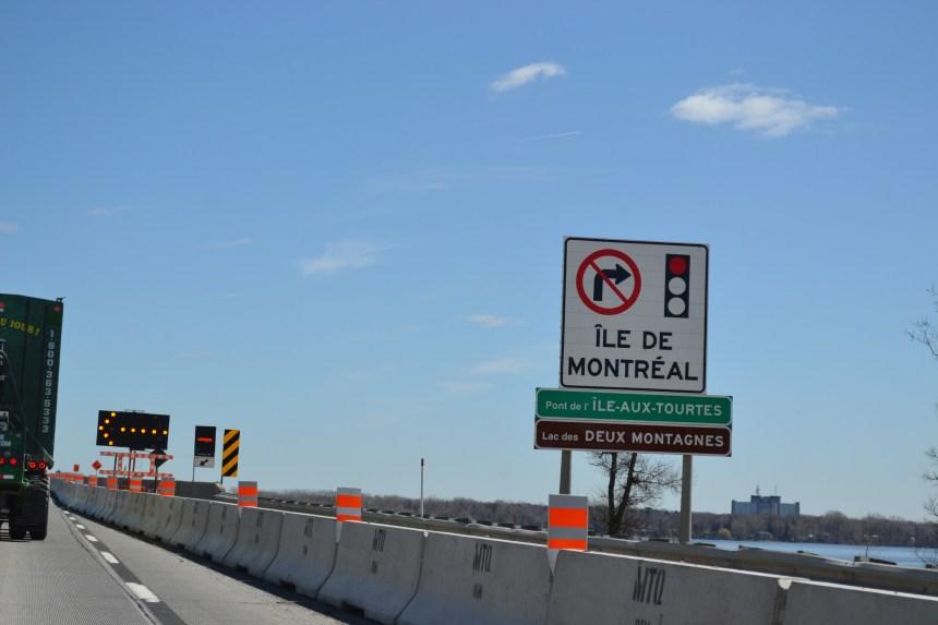 Le pont de l'Île-aux-Tourtes fermé en direction est