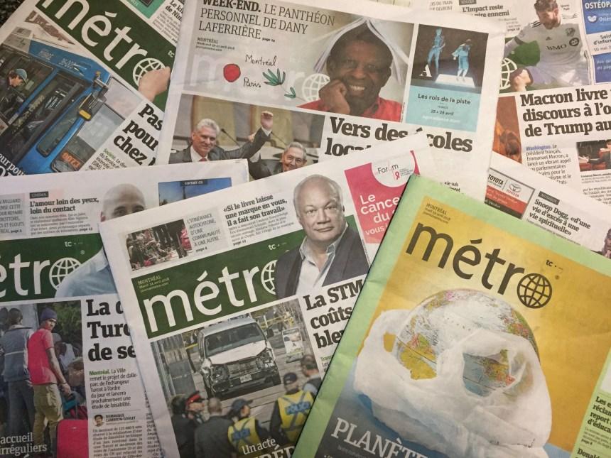 Le journal Métro est vendu
