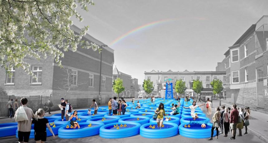 Une centaine de piscines gonflables sur l'avenue du Mont-Royal