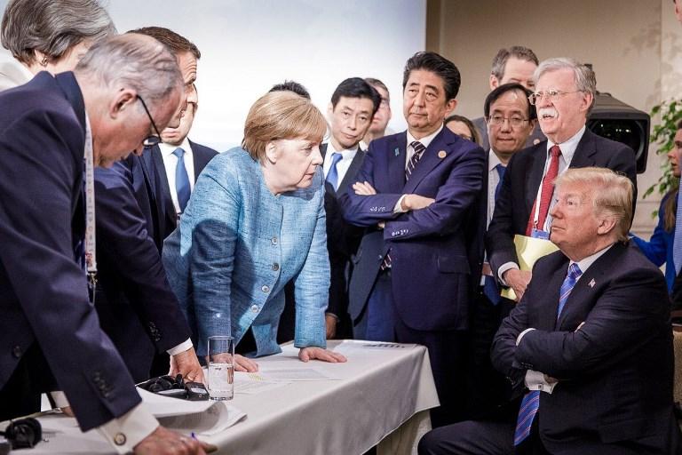 Trump face à Merkel: la photo «icônique» du G7 fait débat