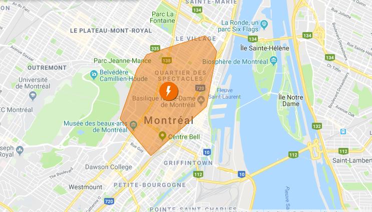 Panne d'électricité dans le centre-ville de Montréal
