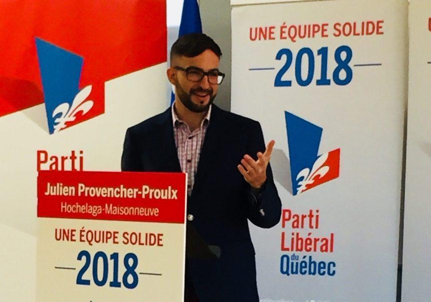 Julien Provencher-Proulx représente le Parti libéral du Québec dans Hochelaga-Maisonneuve