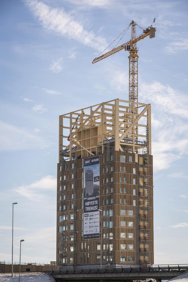 La plus haute tour en bois au monde prend forme en Norvège