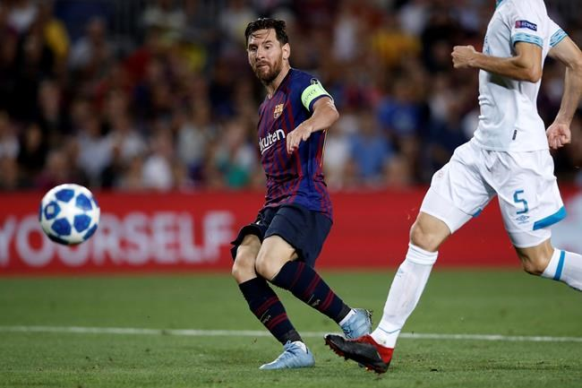 Ligue des champions: un tour du chapeau de Lionel Messi