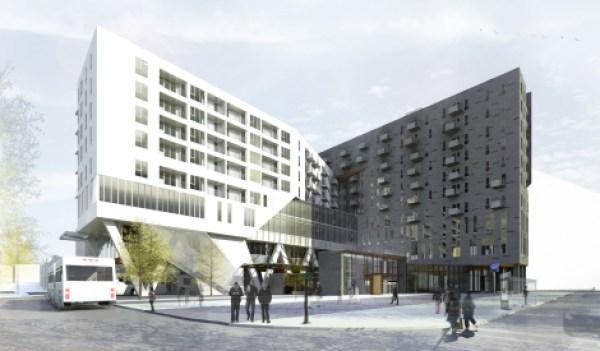 Les esquisses du projet de logements sociaux font voir les deux tours au-dessus de la station Rosemont.