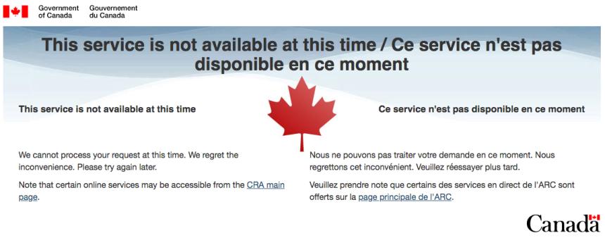 Les services en ligne de l'Agence du revenu du Canada sont en panne