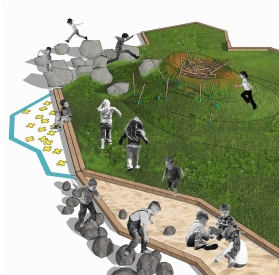 Images conceptuelles du projet de place publique pour les enfants.