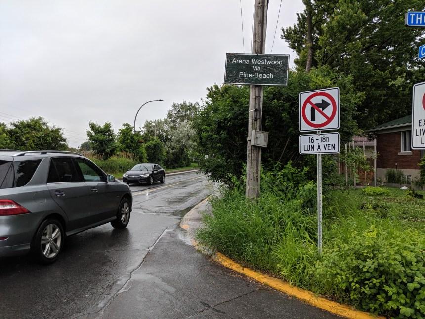 Des panneaux de signalisation conflictuels à Dorval