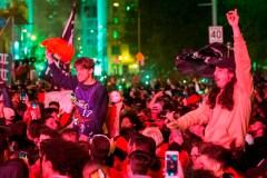 Montréal est en liesse à la suite de la victoire des Raptors de Toronto
