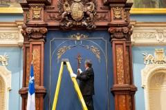 Laïcité de l'État: objet de controverse, le crucifix a quitté le Salon bleu
