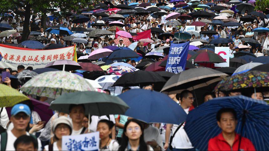 Rassemblement en appui au gouvernement pro-Pékin à Hong Kong