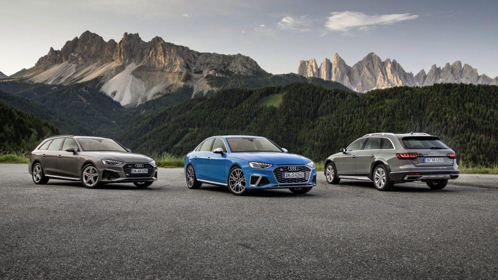 Trois versions de la voiture Audi A4 2020.