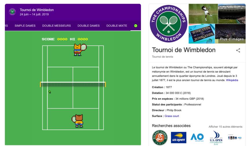 Google cache un mini-jeu de tennis à l'occasion de Wimbledon