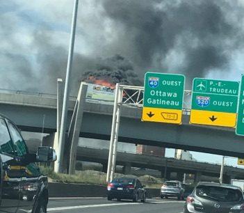 Camion en flammes sur la 40