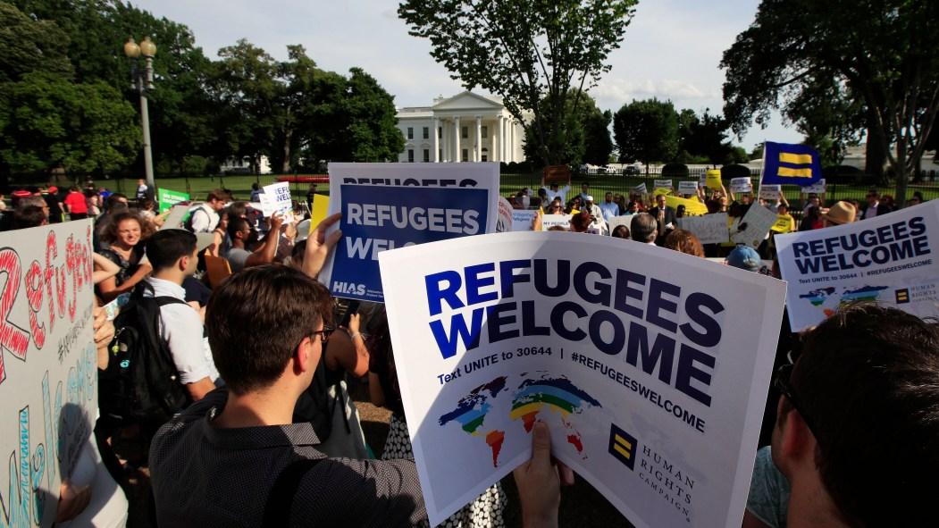 Manifestation en faveur des réfugiés devant la Maison-Blanche
