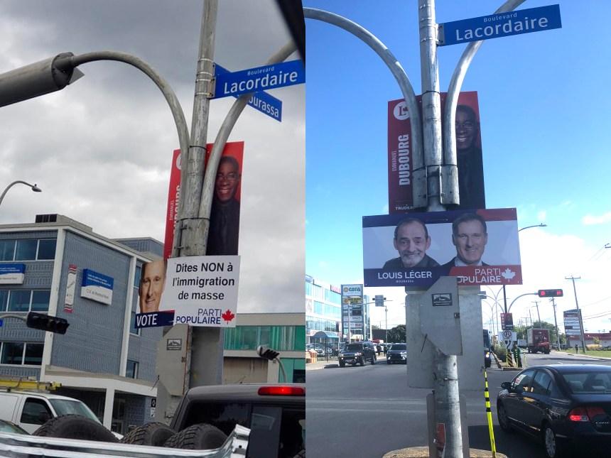 Montréal-Nord: Une affiche anti-immigration est remplacée par le PPC
