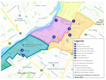 Carte des sites envisagés pour installer un marché public à Ahuntsic-Cartierville
