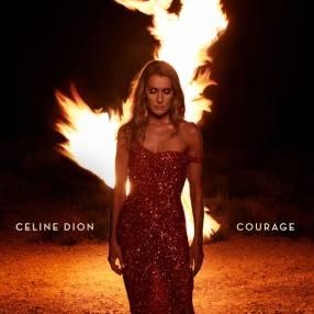 Couverture de l'album «Courage» de Céline Dion, montrant la chanteuse en robe devant une flamme.