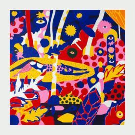 Couverture de l'album «Made me feel» de Fabrikate, montrant une peinture abstraite très colorée.