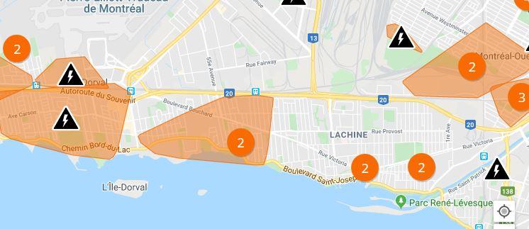 Forts vents: pannes d'électricité et dégâts à Lachine et Dorval