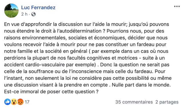 Publication Facebook de Luc Ferrandez suggérant l'aide médicale à mourir comme mesure pour l'environnement.
