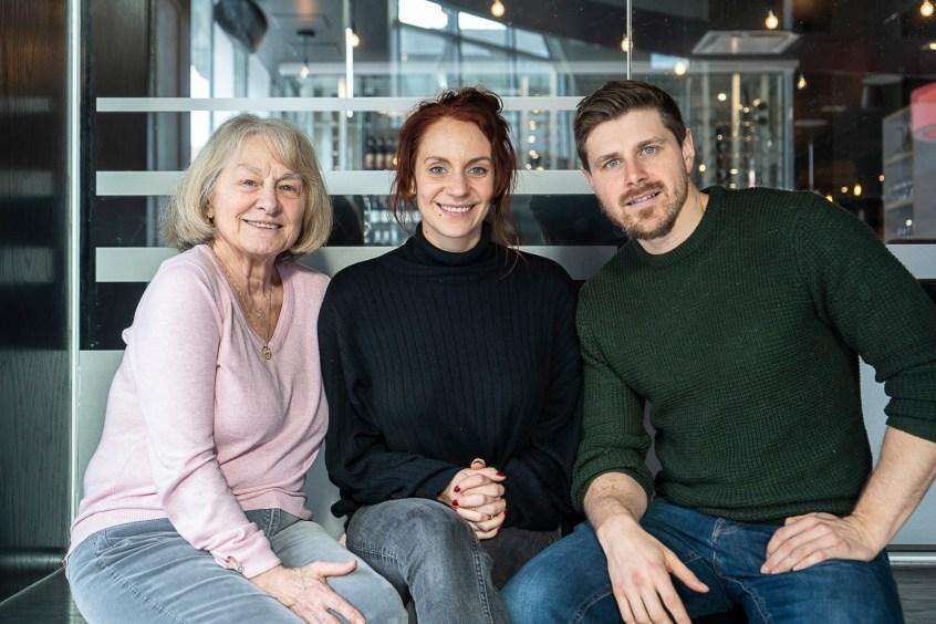 Les acteurs Léane Labrèche Dor, Micheline Lanctôt et Alexandre Landry, pour le film «Le rire», du réalisateur Martin Laroche.