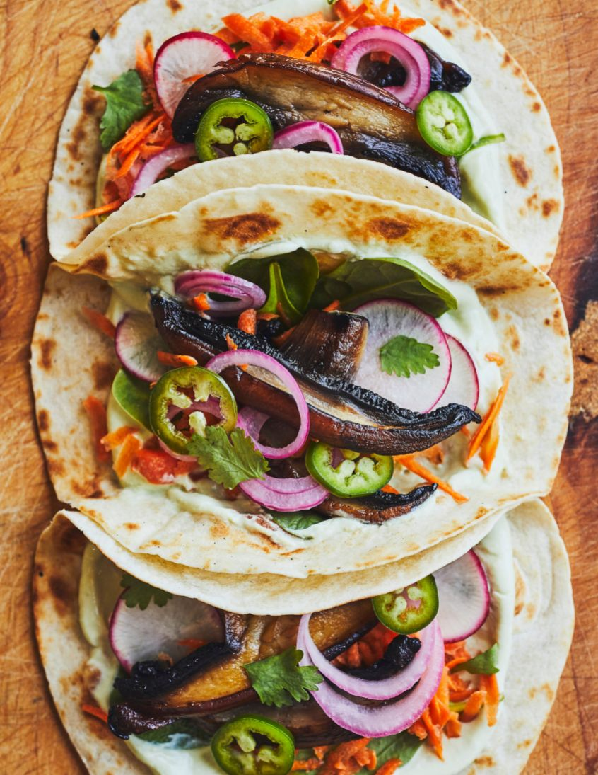 vins moins 15$ avec Tacos aux champignons portobello et mayo à l'avocat