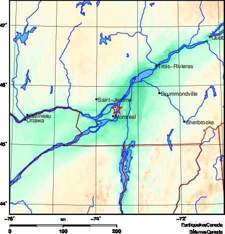 Un séisme d'une magnitude de 3,3 secoue l'est de Montréal