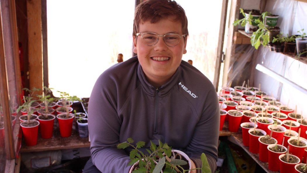 Alexandre-Fabien Gagné a à peine 13 ans et il est déjà devenu un as des semis. Dans sa maison et sa serre, il crée des plants de légumes et autres fines herbes qu'il livre dans son quartier de Pointe-aux-Trembles contre quelques dollars.