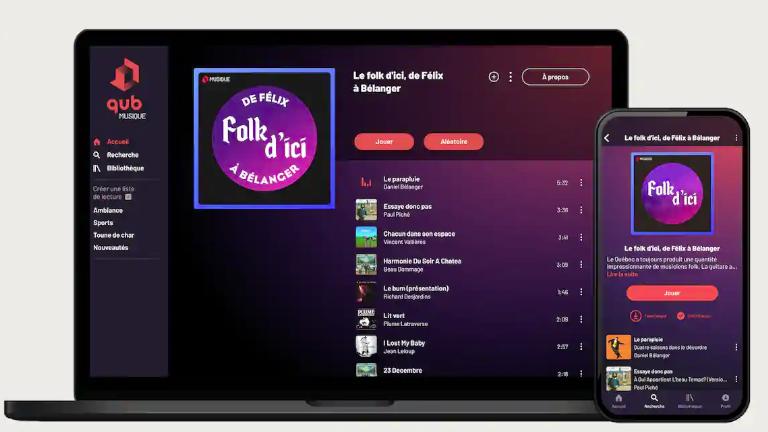 Qub musique application mobile ordinateur